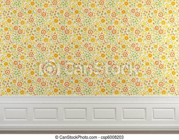 flowery wallpaper wall interior scene of flowery wallpaper and