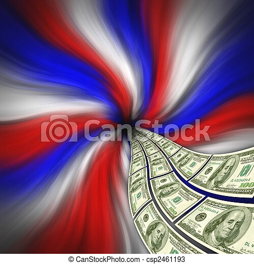 Flowing American currency for financial stimulus - csp2461193