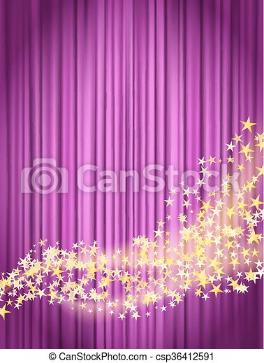 Flowing Stars With Glitter Over Pink Curtains Background Entertainment Backdrop Theatrical
