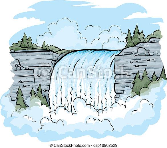 Flowing Waterfall - csp18902529