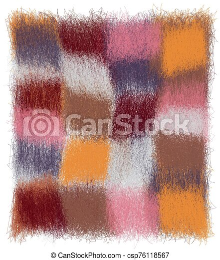 Fluffy checkered plaid with grunge weave colorful square elements in pastel colors - csp76118567