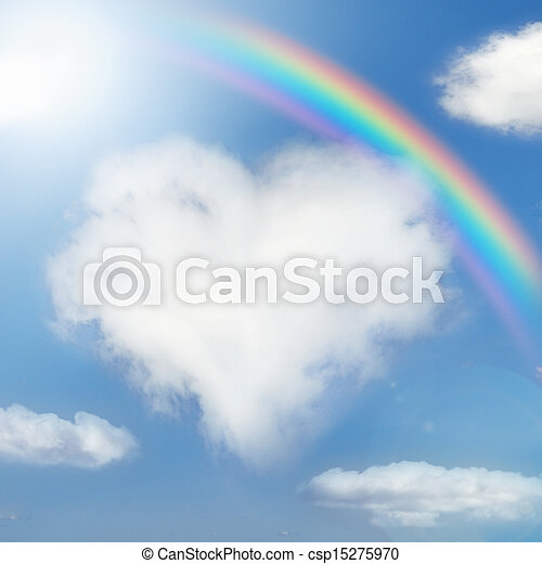 Fluffy cloud of the shape of heart - csp15275970