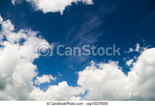 fluffy clouds in the blue sky - csp15375055