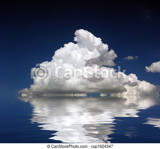 Fluffy Clouds on water (3270b) - csp1624347