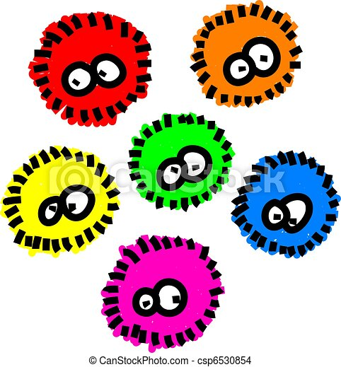 cute cartoon fluffy germs in different colors isolated on drawing rh canstockphoto ca