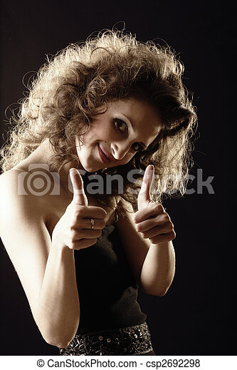 Fluffy girl thumbs up - csp2692298