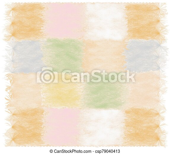 Fluffy mat with geometric checkered pattern with rough square elements and fringe in pastel colors - csp79040413