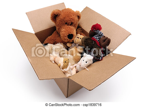 Fluffy toys in a box - csp1839716
