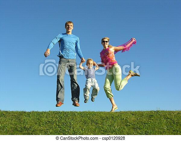 fluga, familj, lycklig - csp0120928