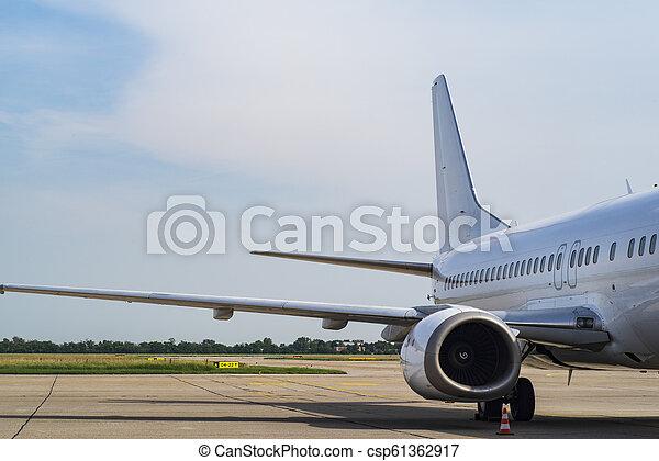 flugzeug., fenster, motorflugzeug, flügel , ansicht - csp61362917
