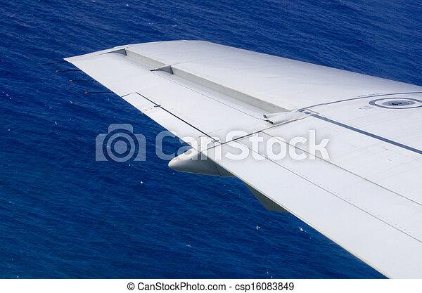 flugzeug- flügel, oben, wasserlandschaft - csp16083849