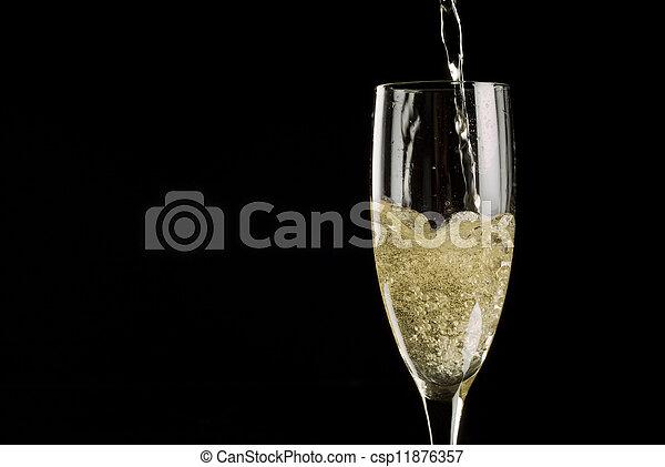 fluit, het fonkelen, enkel, champagne, gevulde, wijntje - csp11876357