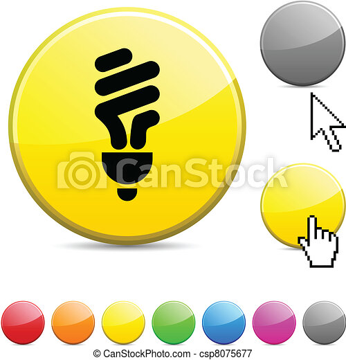 Fluorescent bulb glossy button. - csp8075677