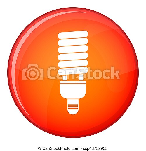 Fluorescent bulb icon, flat style - csp43752955