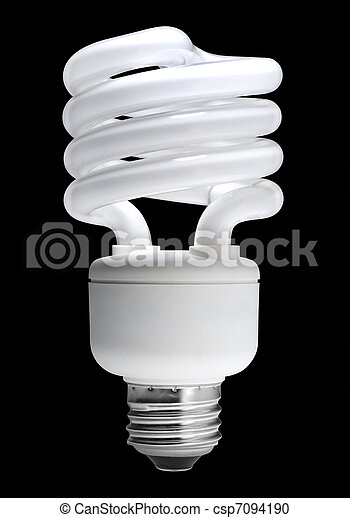 Fluorescent light bulb, isolated - csp7094190