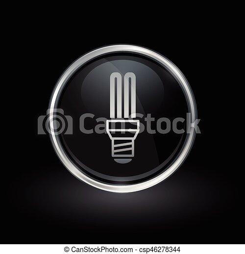 Fluorescent lightbulb icon inside round silver and black emblem - csp46278344