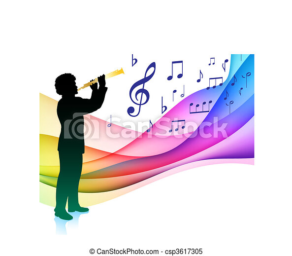 Flute player on musical note color spectrum original for Note musicali dwg