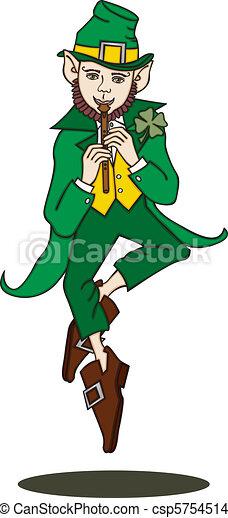 Flute-Playing Leprechaun Silo - csp5754514