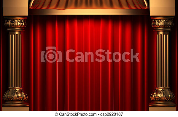 fluweel, achter, kolommen, goud, gordijnen, rood - csp2920187