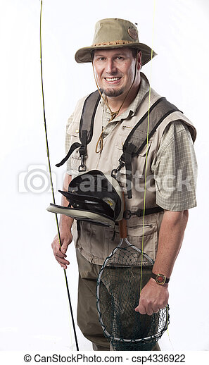 Fly fisherman ready for catching trout - csp4336922
