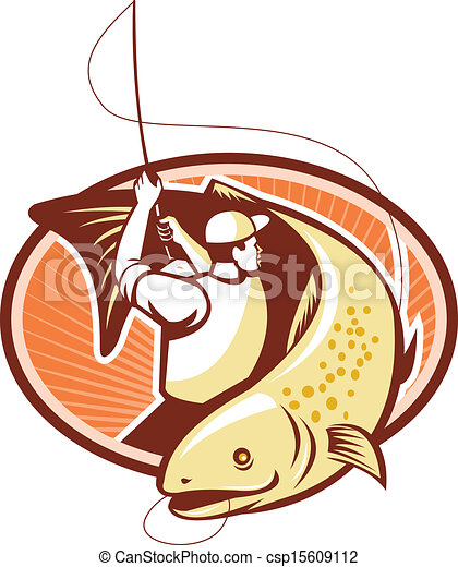 fly fisherman reeling trout fish retro illustration of a vector rh canstockphoto com Rainbow Trout trout fish clipart