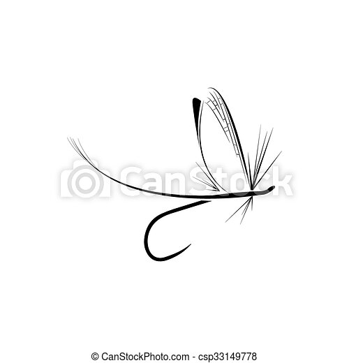 Fly fishing icon  - csp33149778