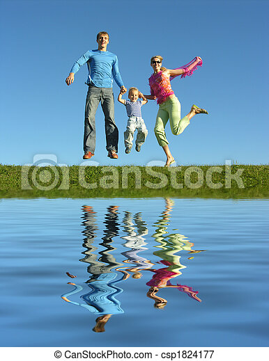 fly happy family  and water - csp1824177