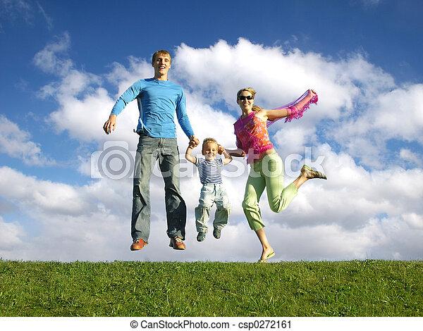 fly happy family on  - csp0272161