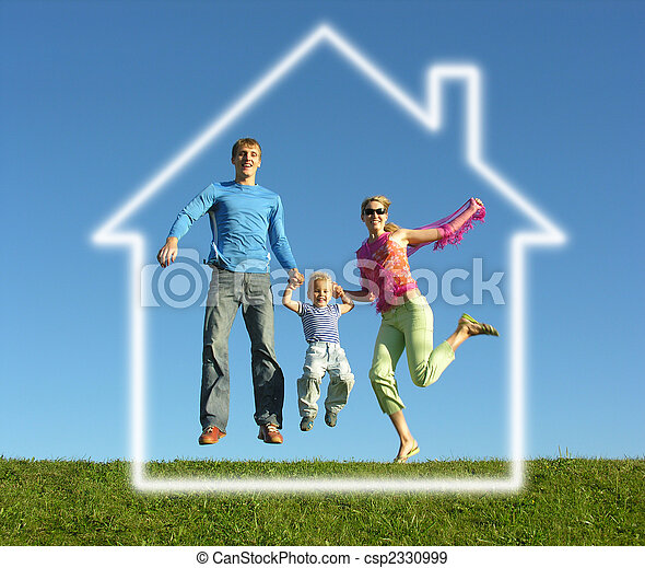 fly happy family with dream house - csp2330999