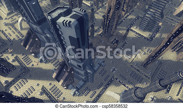 Fly over a futuristic scifi city. 3D rendering - csp58358532