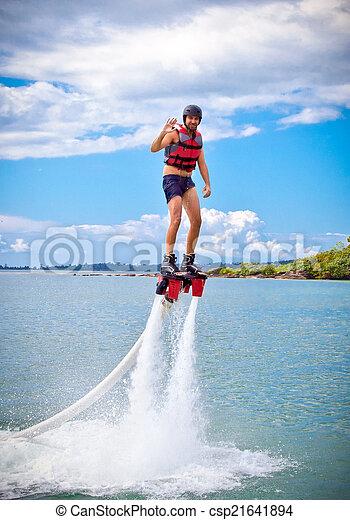 flyboard, nouveau, appelé, spectaculaire, sport, extrême - csp21641894