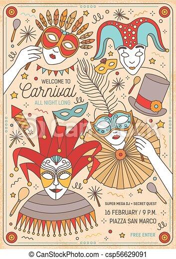 flyer poster or invitation template for masquerade ball mardi gras