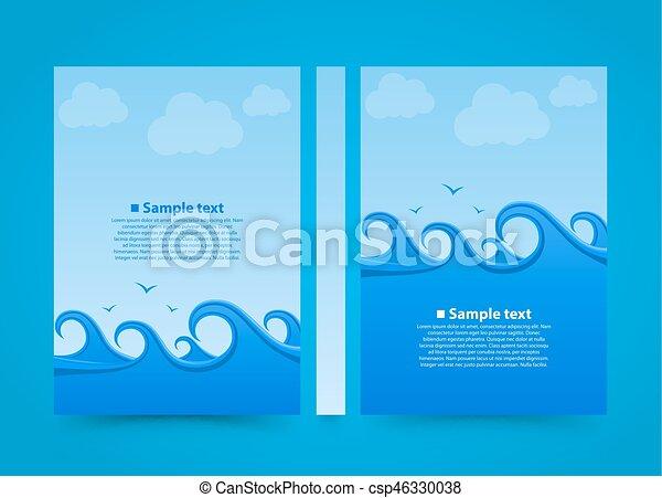 Flyer Sea wave banner book  Summer beach A4 size paper, Template design  element, Vector background