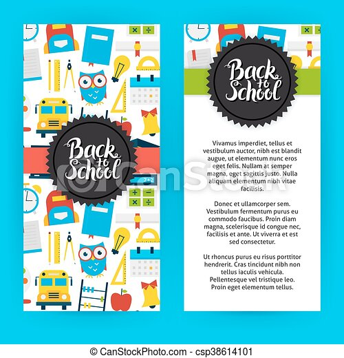Flyer Template Back To School Flat Style Design Vector  Vector