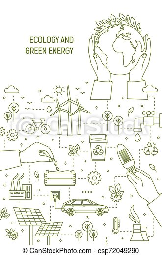 Flyer template with hands holding planet Earth, lightbulb and seeds surrounded by wind and solar power stations, electric car. Ecology, green energy generation. Monochrome linear vector illustration. - csp72049290
