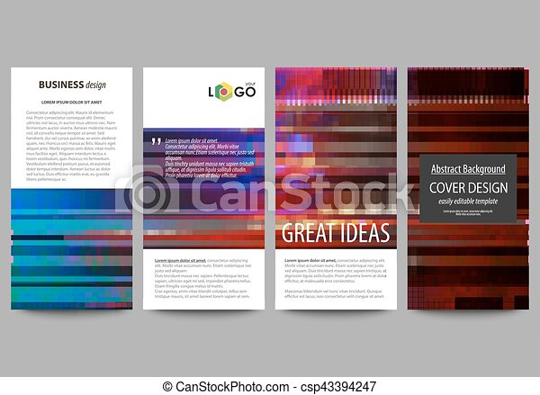 Flyers set, modern banners. Business templates. Cover design template, abstract vector layouts. Glitched background made of colorful pixel mosaic. Digital decay, signal error. Trendy glitch backdrop. - csp43394247
