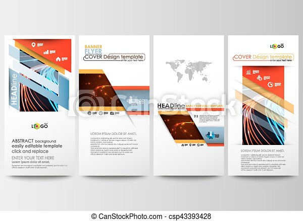 Flyers set, modern banners. Business templates. Cover template, easy editable, flat layouts. Abstract lines background with color glowing neon streams, motion design vector. - csp43393428