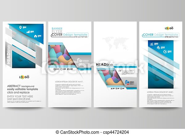 Flyers set, modern banners. Business templates. Cover template, flat style layouts, vector illustration. Bright color pattern, colorful design, overlapping shapes forming abstract beautiful background - csp44724204