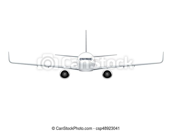 Flying Airplane Jet Aircraft Airliner Front View Of Detailed