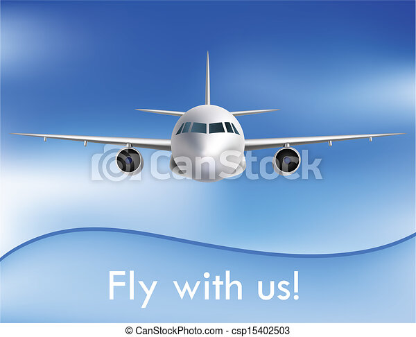 Flying airplane on the sky - csp15402503