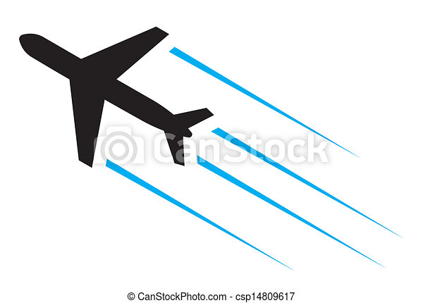 Flying airplane  - csp14809617