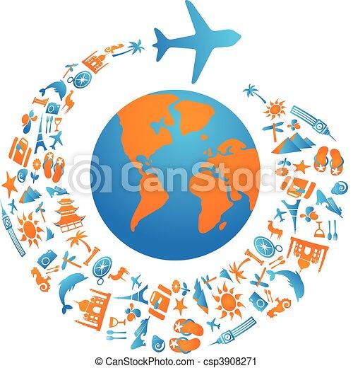 Flying around the world - csp3908271