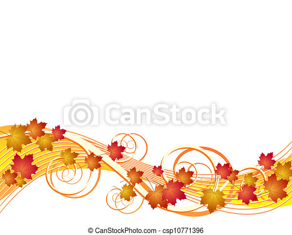 Flying autumn leaves background - csp10771396