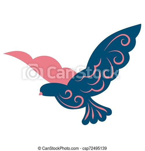 Flying bird flat color illustration on white - csp72495139