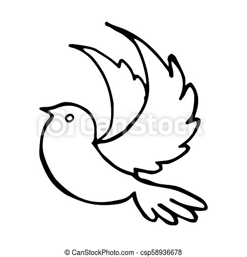 Flying Bird Stretched Wings Vector Illustration - csp58936678