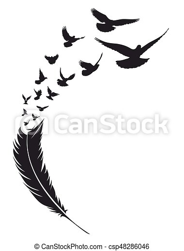 flying bird with feather flight flock of birds from bird feather rh canstockphoto com Curved Feather Turning into Birds Feather Bird Tattoo Print Out