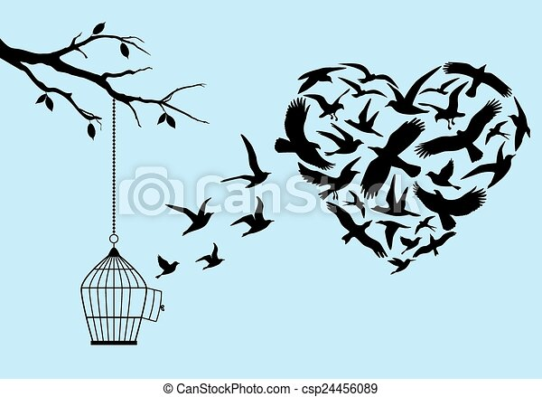 flying birds heart, vector - csp24456089