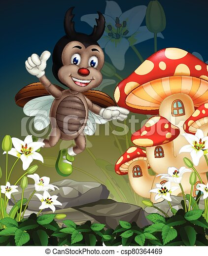 Flying Brown Beetle On Top if White Ivy Flowers With Mushroom House Cartoon - csp80364469
