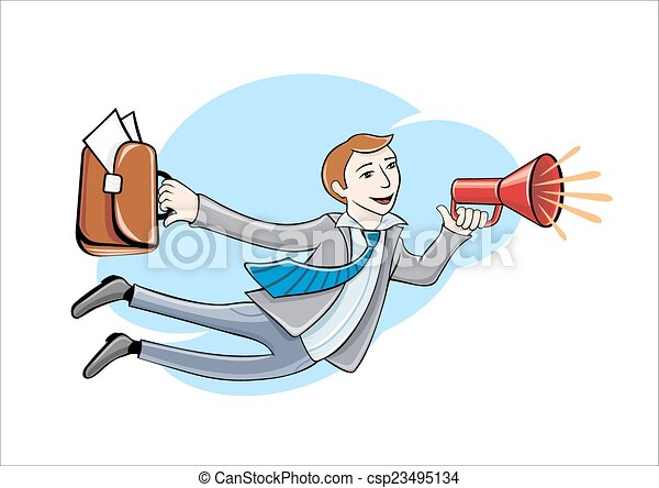 Flying business hero. Business idea concept - csp23495134