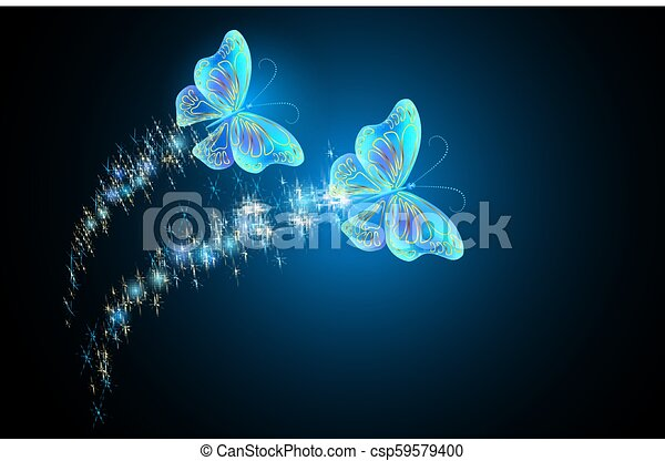 Flying butterflies with sparkle and blazing trail - csp59579400